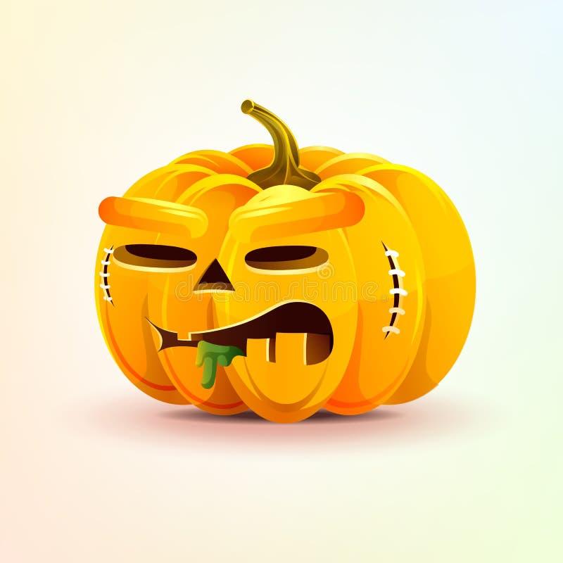 Джек-o-фонарик, ужасная тыква осени выражения лица иллюстрация штока