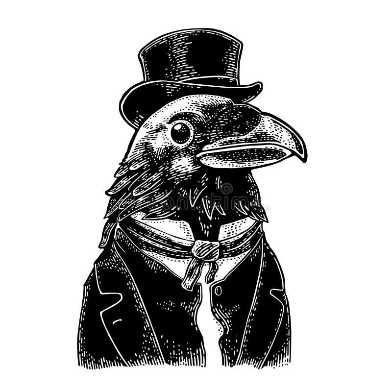 Джентльмен ворона одел в костюме, связи и прямоугольном цилиндре Винтажная черная гравировка иллюстрация штока