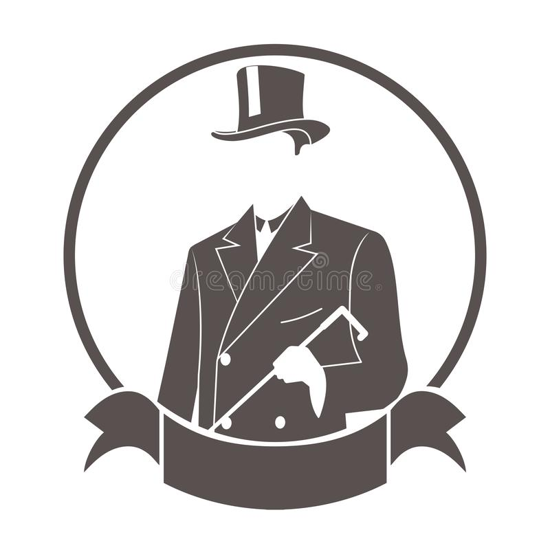 Джентльмен в символе модного костюма круглом с лентой иллюстрация штока