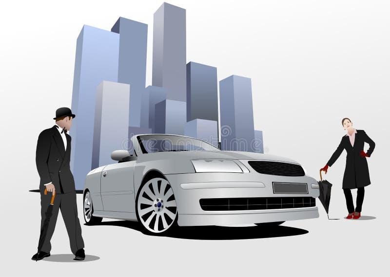 Джентльмен и дама с зонтиком иллюстрация вектора