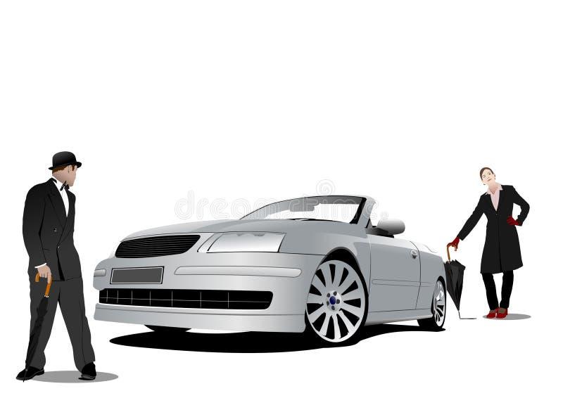 Джентльмен и дама иллюстрация штока