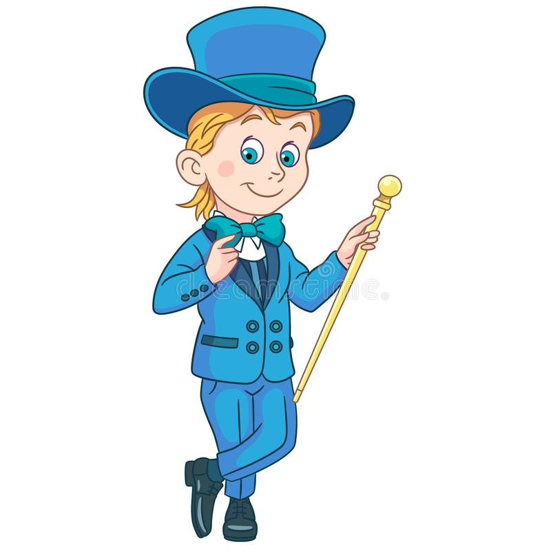 Джентльмен шаржа в смокинге и верхней шляпе иллюстрация вектора