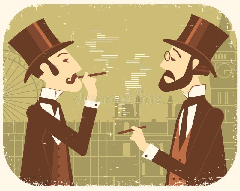 Джентльмен в котелках Винтажная предпосылка Лондона иллюстрация вектора