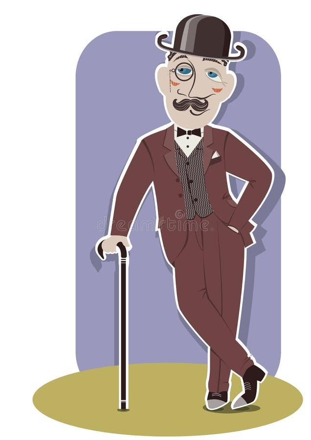 Джентльмен в черных котелке и тросточке. иллюстрация штока