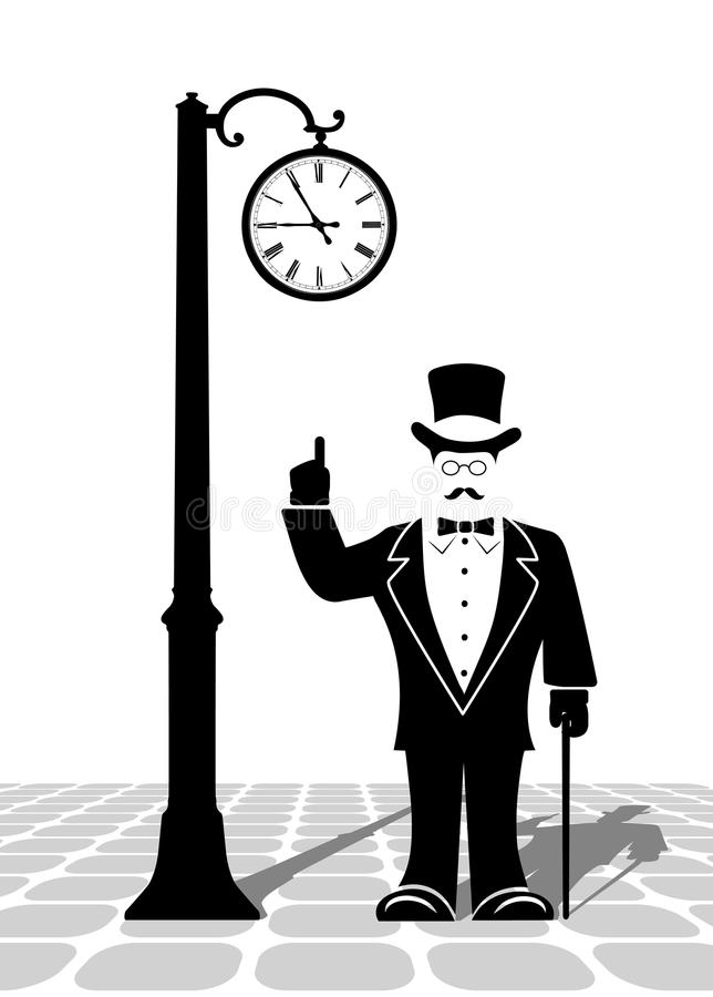 Джентльмен под старым вахтой на улице города иллюстрация штока