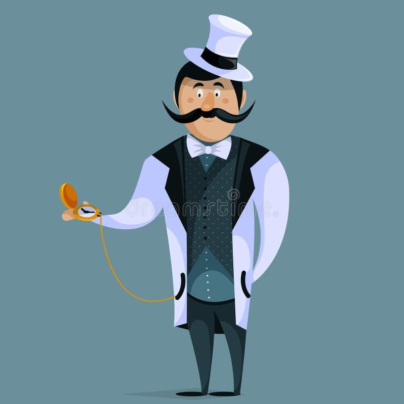 Джентльмен с карманным вахтой на цепи персонаж из мультфильма смешной иллюстрация штока
