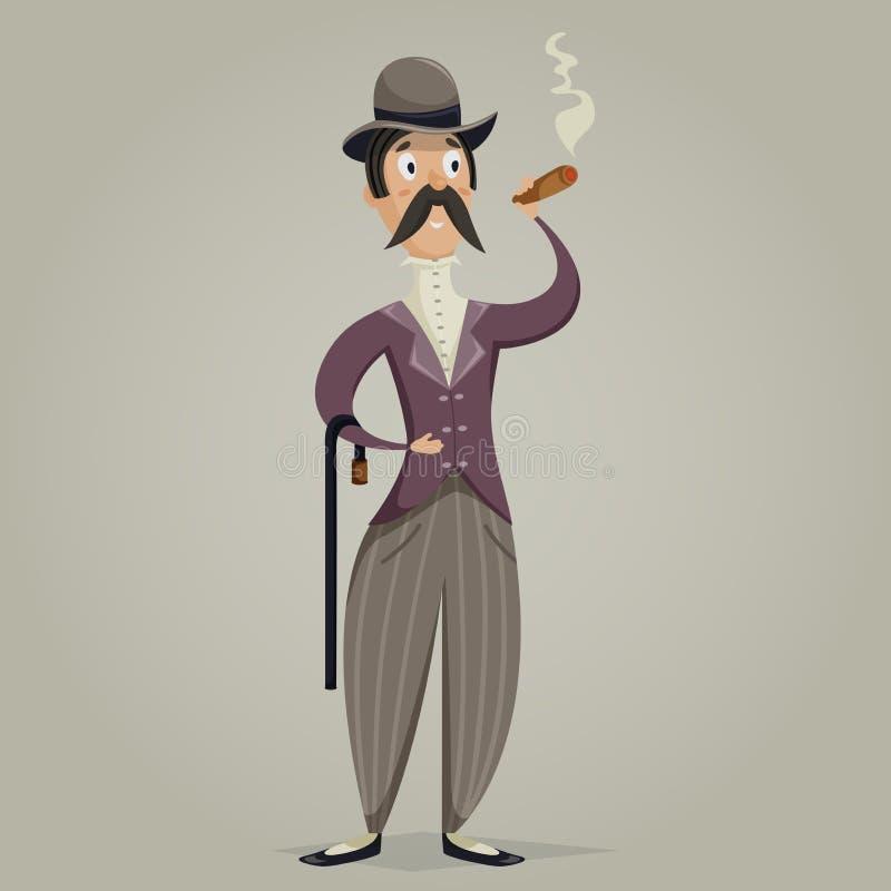 Джентльмен с сигарой и ручкой персонаж из мультфильма смешной иллюстрация штока