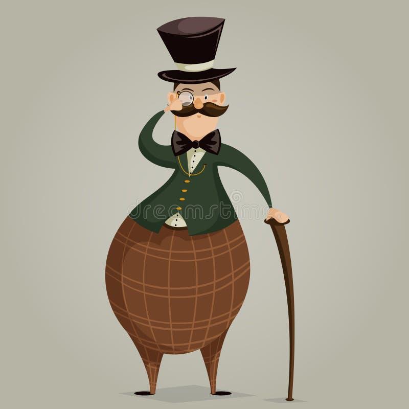 Джентльмен с monocle и ручкой персонаж из мультфильма смешной иллюстрация вектора