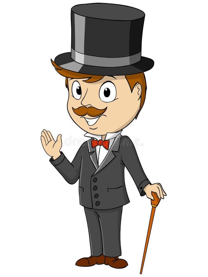 Джентльмен шаржа счастливый с ручкой бесплатная иллюстрация