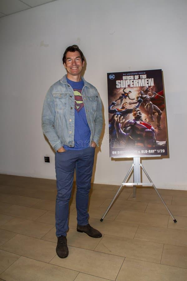Джерри O'Connell на премьере царствования суперменов стоковые фото