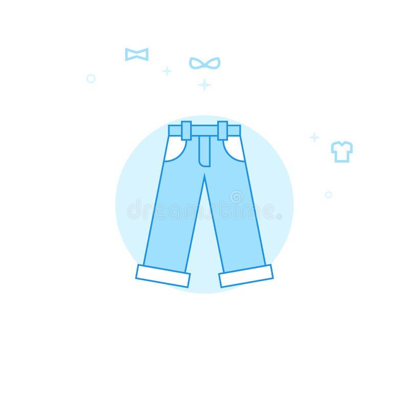 Джинсы, иллюстрация вектора джинсовой ткани плоская, значок Светлый - голубой Monochrome дизайн Editable ход иллюстрация штока