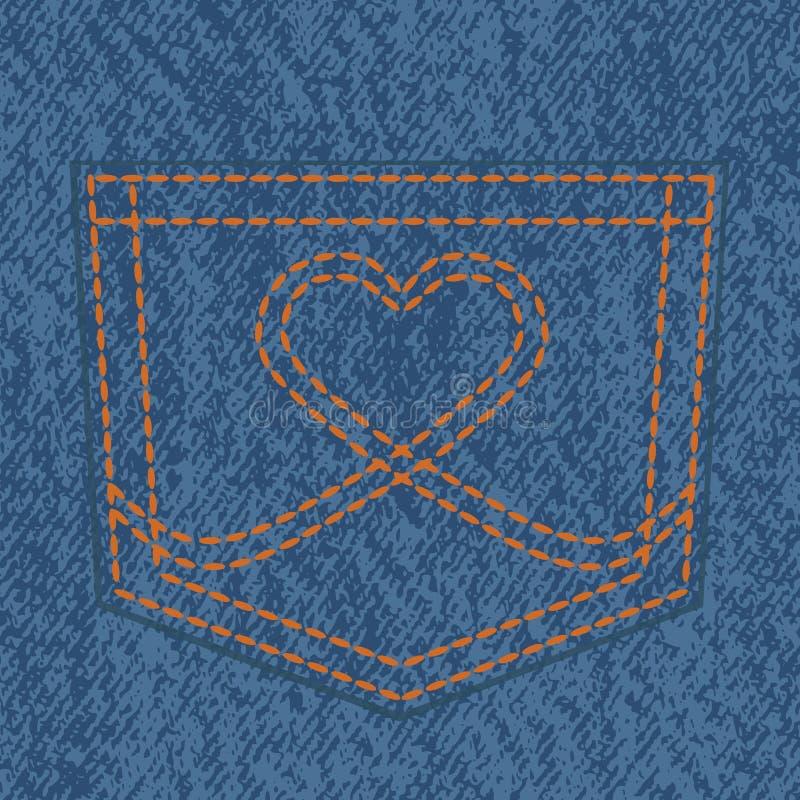 Джинсы карманн и стежок сердца форменный бесплатная иллюстрация