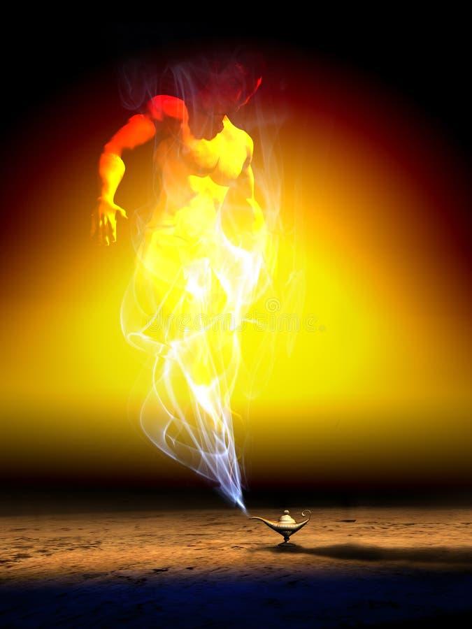 Джины волшебной лампы иллюстрация вектора