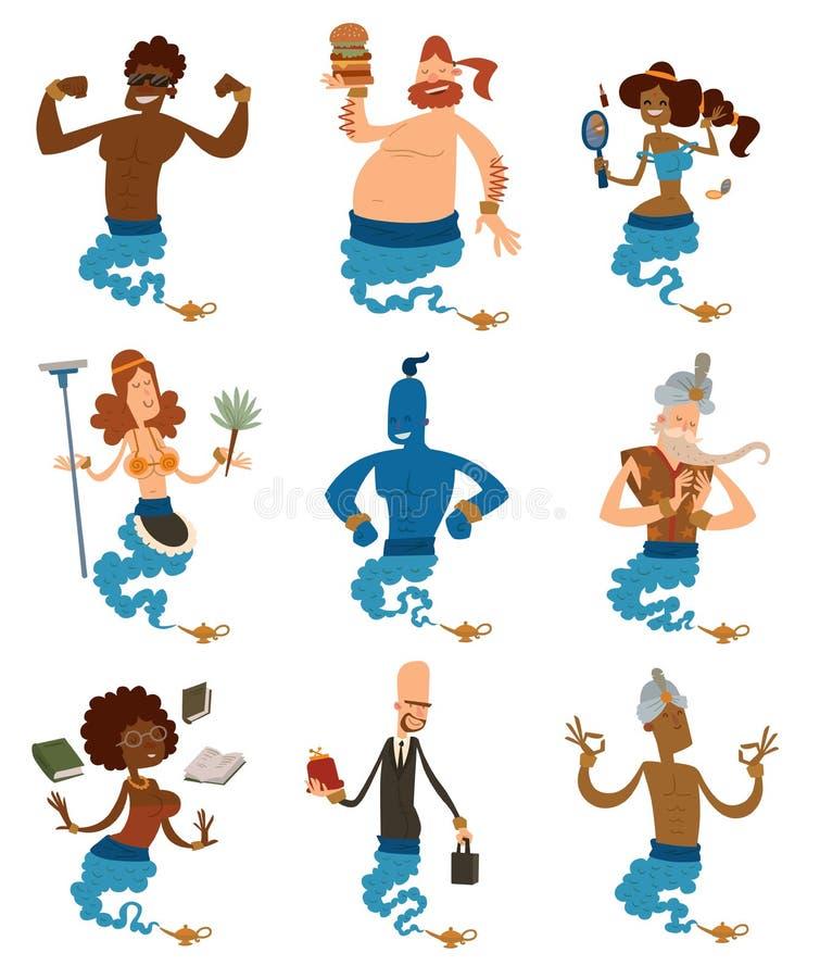 Джины шаржа поддерживают людей приходя из волшебства бесплатная иллюстрация