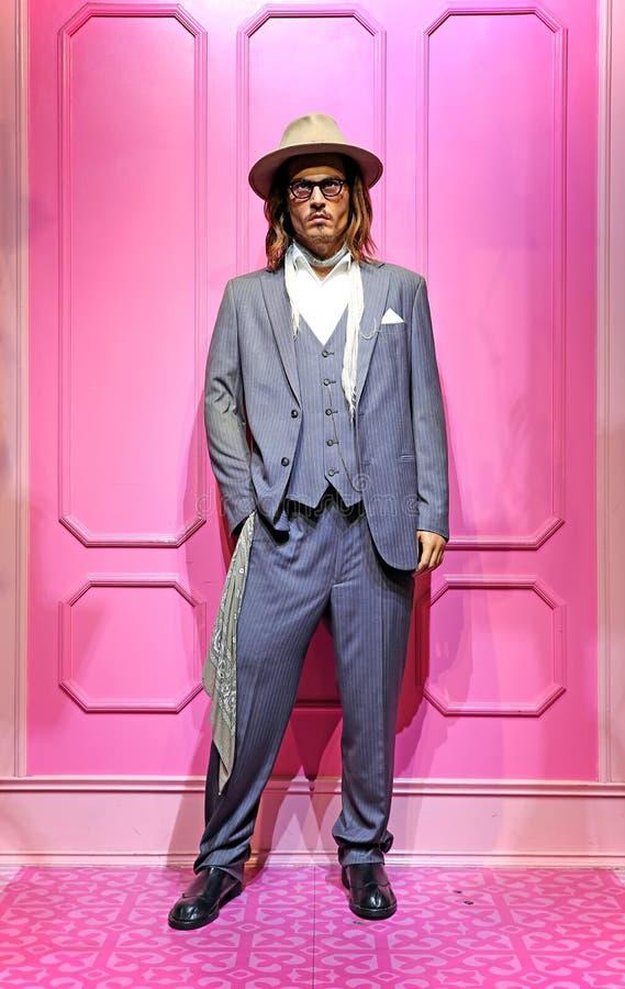 Джонни Депп, известная статуя actror hollywood на tussauds Мадам в Гонконге стоковое изображение rf