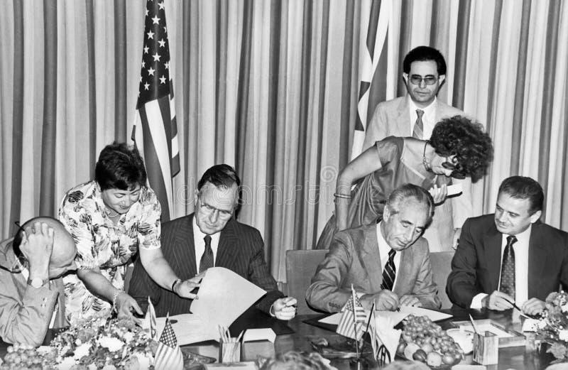 Джордж h W Дипломатия Буша и Шимона Переса приёмная Американск-израильская стоковые фотографии rf