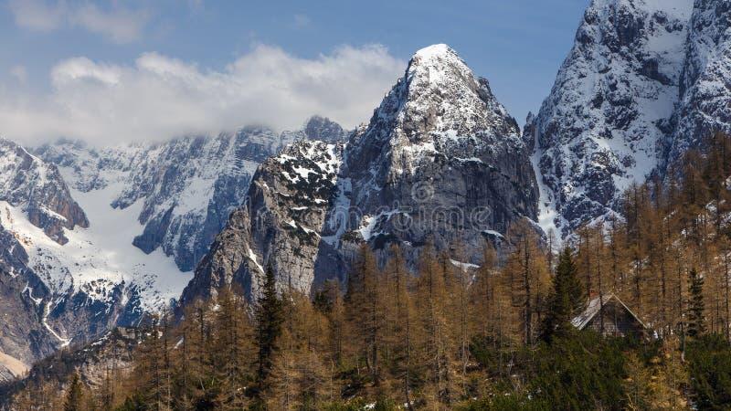 Джулиан Альпы и малое укрытие горы на пропуске Vrsic стоковая фотография rf