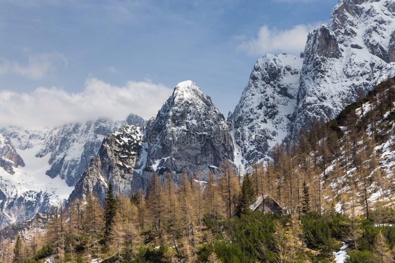 Джулиан Альпы и малое укрытие горы на пропуске Vrsic стоковое изображение rf