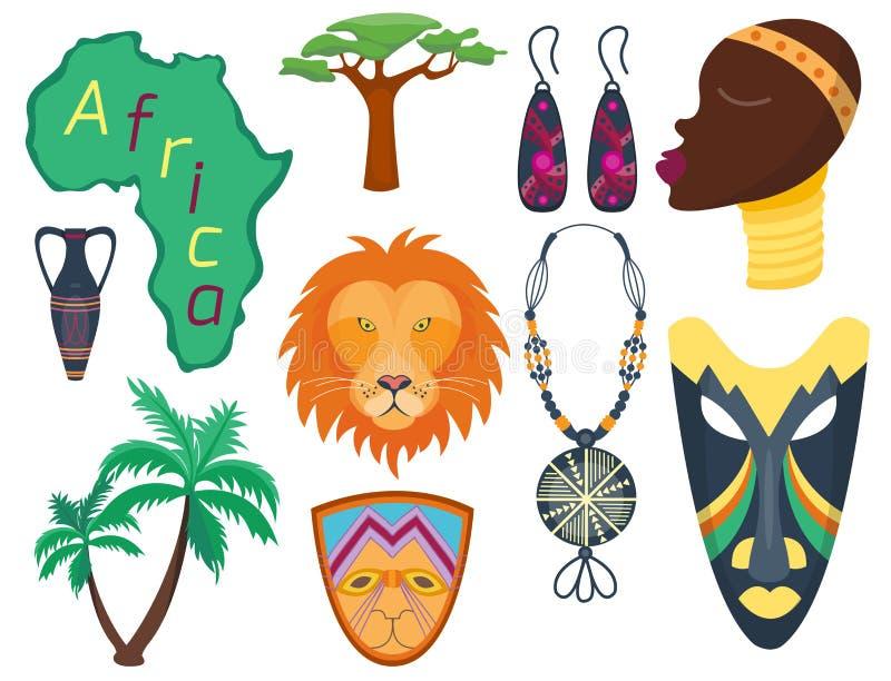 Джунгли значков вектора Африки иллюстрация культуры перемещения племенных и женщины maasai этнического африканского старого сафар иллюстрация штока