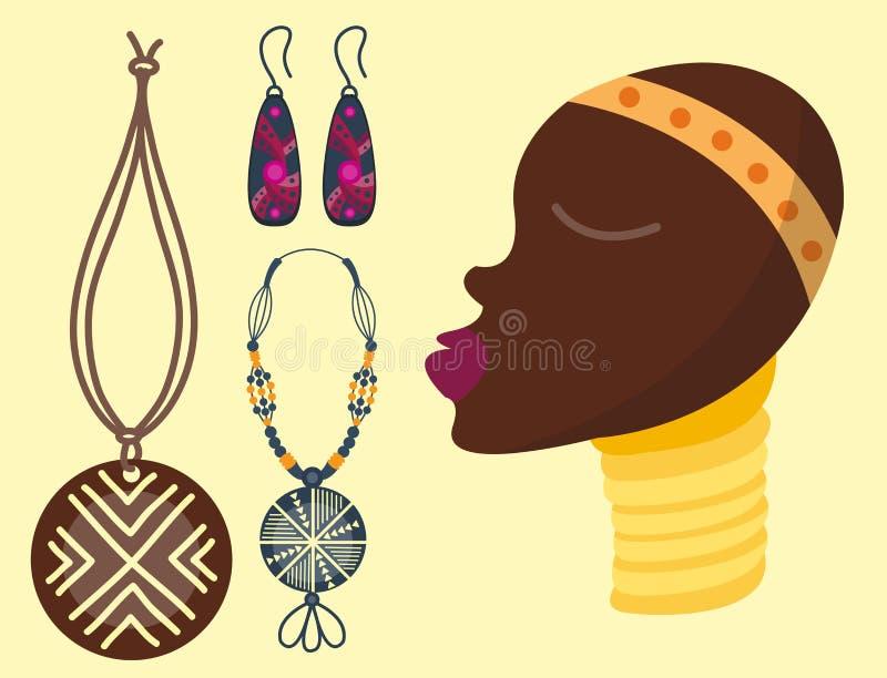 Джунгли значков вектора Африки иллюстрация культуры перемещения племенных и женщины maasai этнического африканского старого сафар бесплатная иллюстрация