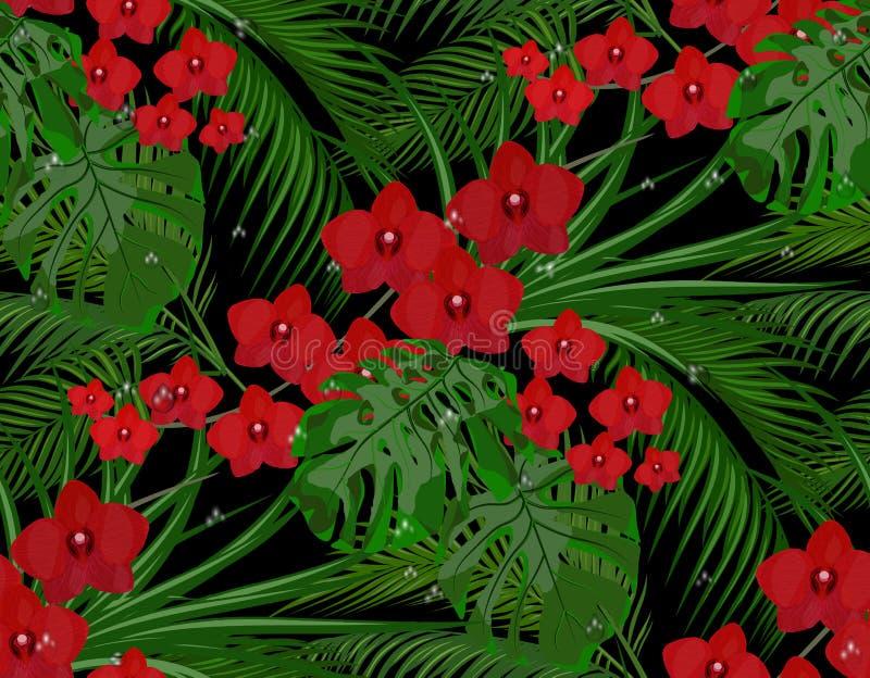 Джунгли Листья зеленого цвета тропических пальм, monstera, столетников Красные бургундские орхидеи Падения росы, дождя безшовно иллюстрация вектора