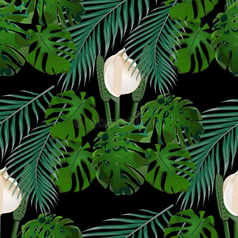 Джунгли Зеленые тропические лист, цветки изверга и листья ладони флористическая картина безшовная На черной предпосылке иллюстрация штока
