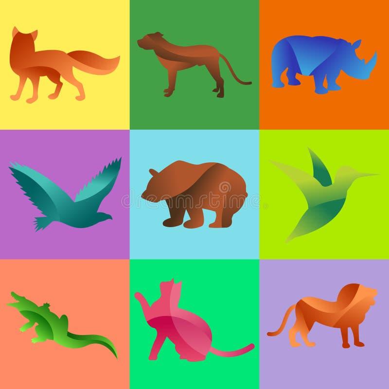 Джунгли диких животных pets силуэт логотипа геометрического характера конспекта полигона и зоопарка искусства природы графическог иллюстрация вектора
