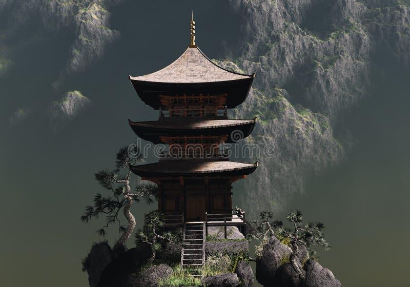 Дзэн буддийского виска иллюстрация штока