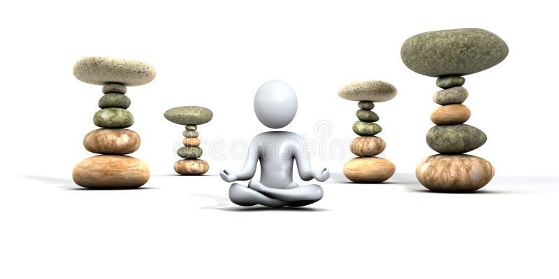 Дзэн камней человека meditating иллюстрация штока