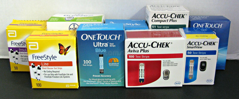 Диабетические прокладки испытания стоковое фото