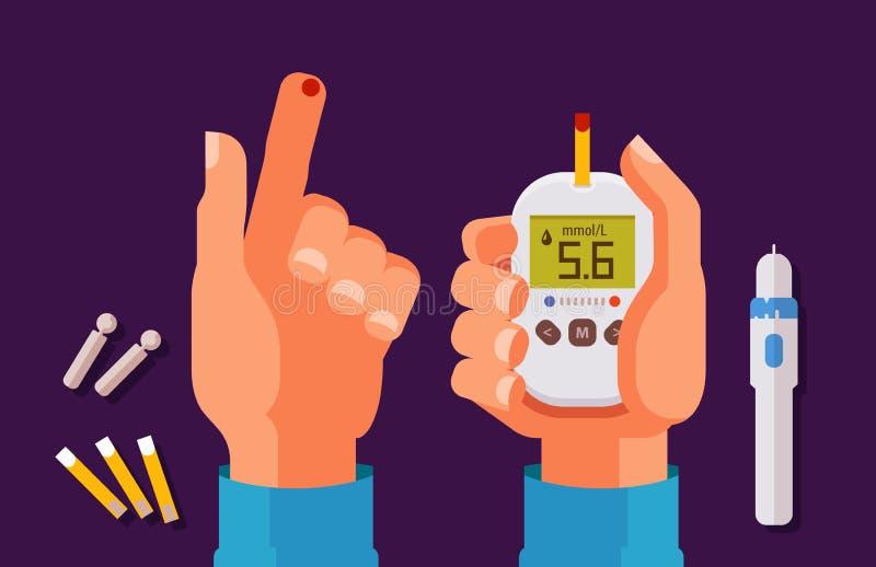 Диабет, концепция здоровья Высокий уровень сахара в крови Glucometer, иллюстрация вектора шаржа метра глюкозы иллюстрация вектора