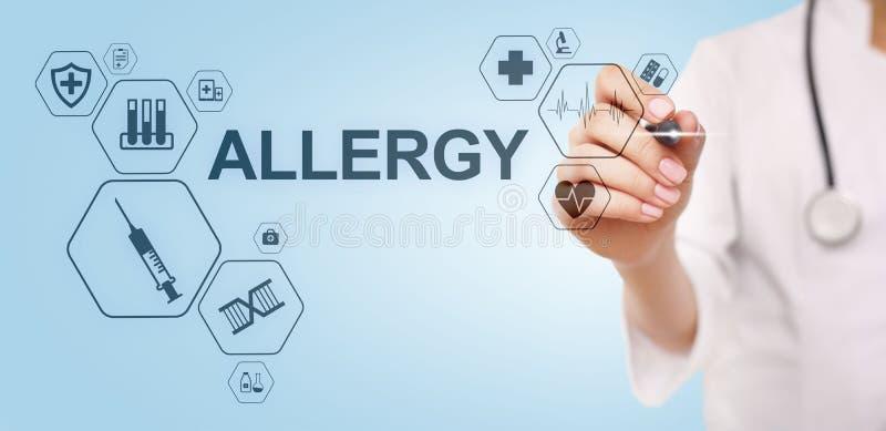 Диагноз аллергии медицинский и доктор концепции здравоохранения со стетоскопом иллюстрация штока