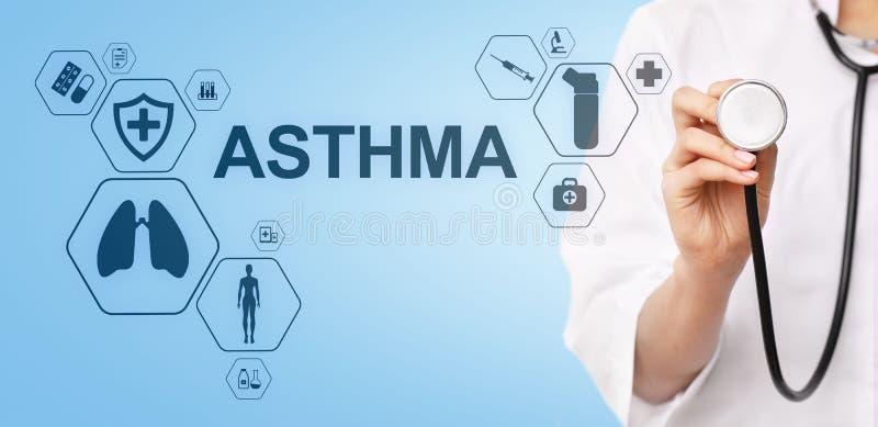 Диагноз астмы, врач со стетоскопом и виртуальный экран Современная медицинская концепция иллюстрация вектора