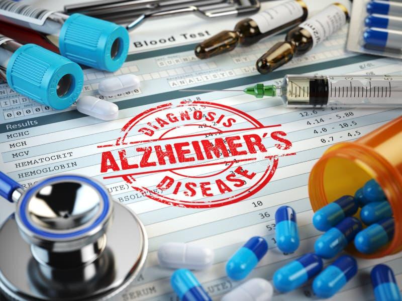 Диагноз заболеванием Alzheimers Штемпель, стетоскоп, шприц, кровь иллюстрация штока