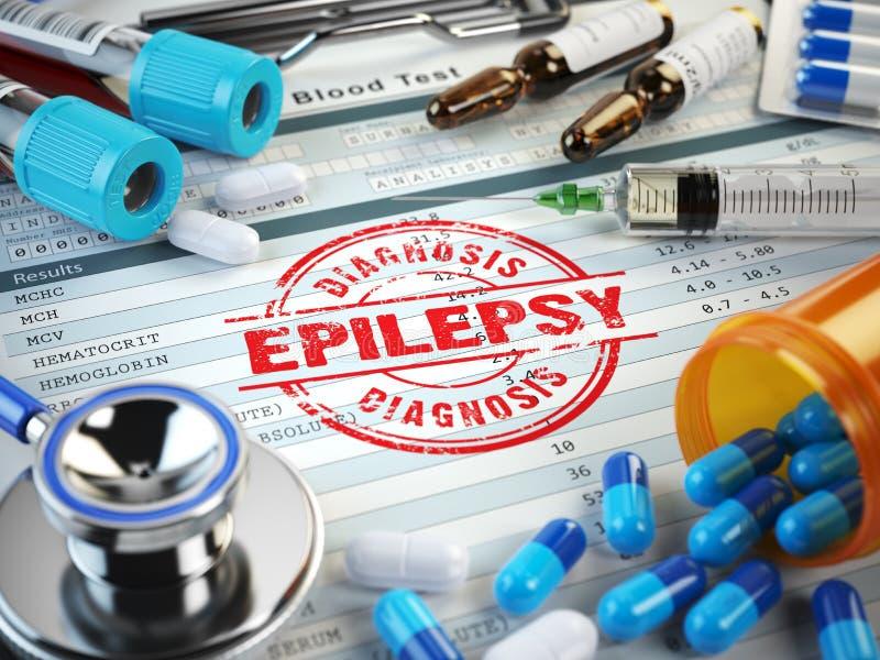 Диагноз эпилепсии Штемпель, стетоскоп, шприц, анализ крови и иллюстрация штока