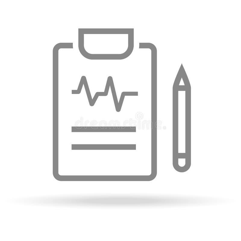 Диагностика, значок медицинского исследования в ультрамодной тонкой линии стиле изолированный на белой предпосылке Медицинский си иллюстрация вектора