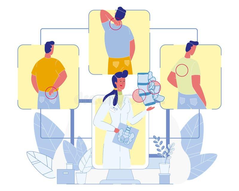 Диагностики заболеваниями позвоночника и вектор обработки бесплатная иллюстрация