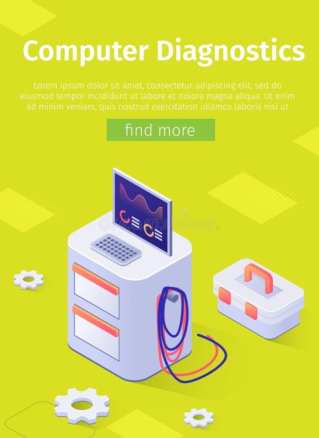 Диагностики компьютера автомобиля онлайн плаката предлагая иллюстрация вектора