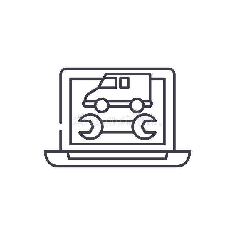 Диагностики компьютера выравнивают концепцию значка Иллюстрация вектора диагностик компьютера линейная, символ, знак бесплатная иллюстрация