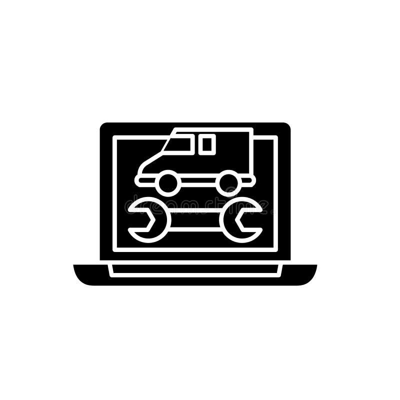Диагностики черный значок компьютера, знак вектора на изолированной предпосылке Символ концепции диагностик компьютера, иллюстрац бесплатная иллюстрация