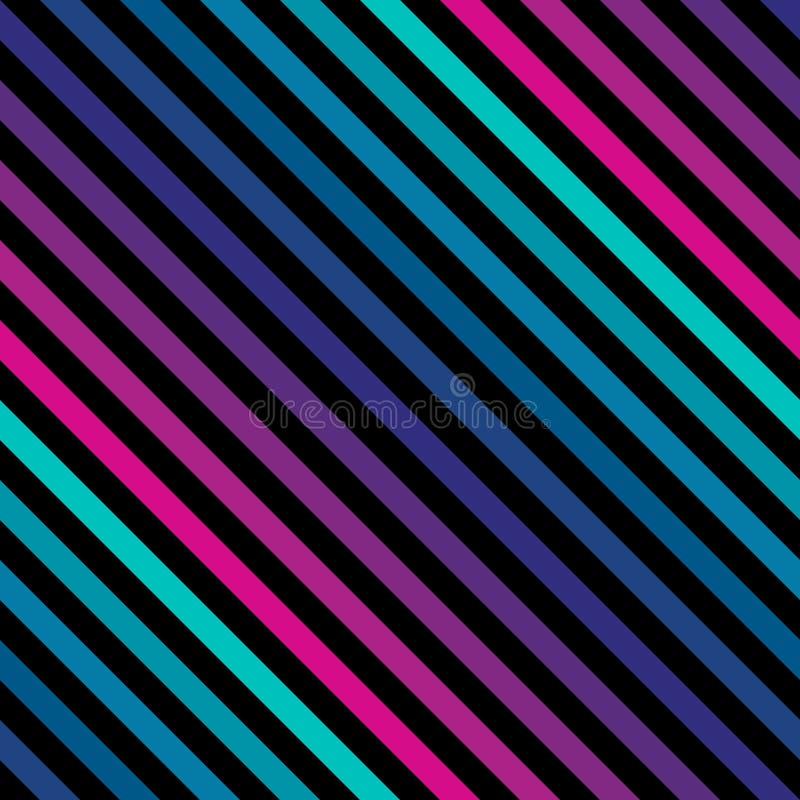 Диагональ stripes безшовная картина в неоновых ярких цветах картина ретро иллюстрация вектора