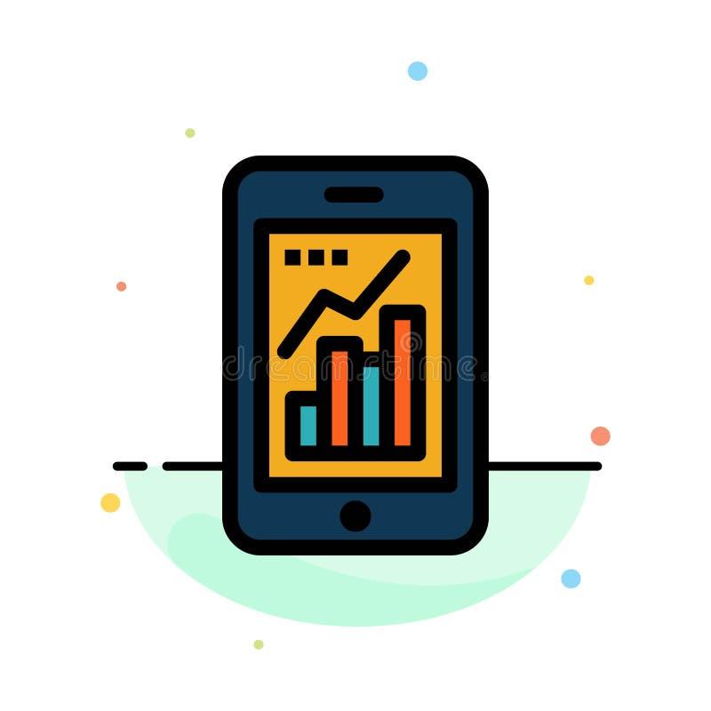 Диаграмма, аналитик, информация графическая, шаблон значка цвета мобильного, мобильного конспекта диаграммы плоский иллюстрация штока