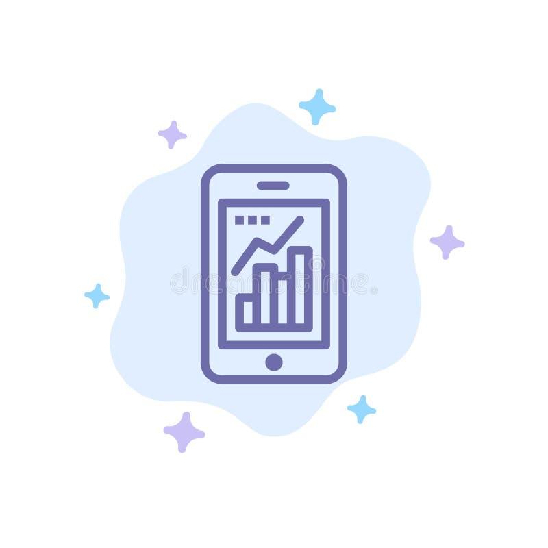 Диаграмма, аналитик, информация графическая, значок мобильной, мобильной диаграммы голубой на абстрактной предпосылке облака иллюстрация штока