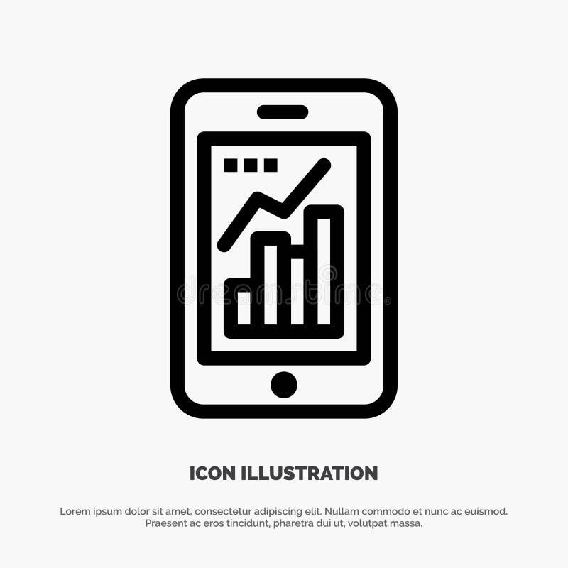 Диаграмма, аналитик, информация графическая, мобильная, мобильная линия вектор диаграммы значка бесплатная иллюстрация