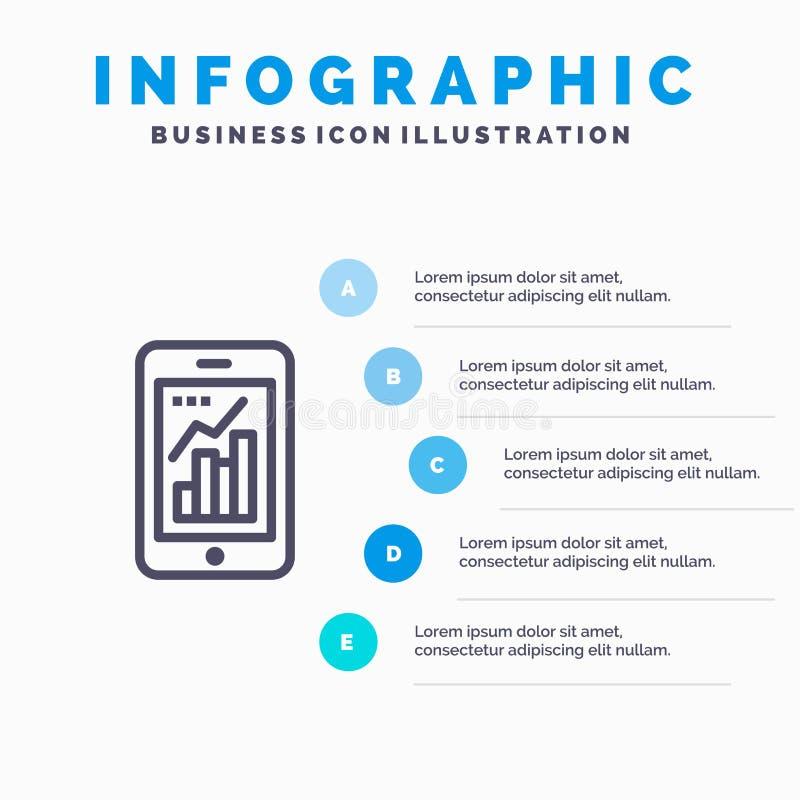 Диаграмма, аналитик, информация графическая, мобильная, мобильная линия значок диаграммы с предпосылкой infographics представлени иллюстрация вектора