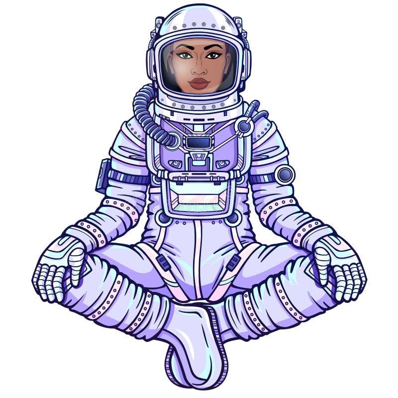 Диаграмма анимации астронавта чернокожей женщины в космическом костюме сидя в представлении Будды иллюстрация вектора