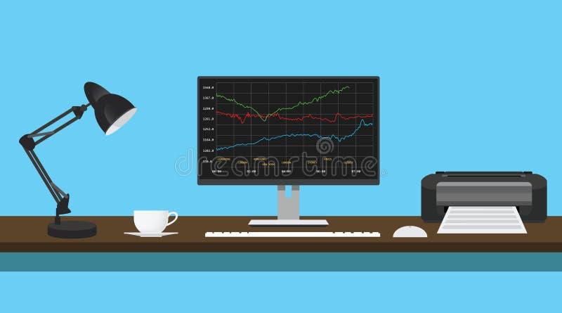 Диаграмма данным по инвесторских компаний в столе монитора с принтером лампы стоковое изображение