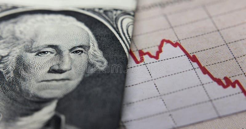 Диаграмма & банкнота фондовой биржи стоковое изображение