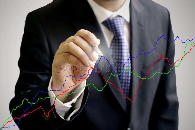 диаграмма бизнесмена пишет стоковое изображение rf