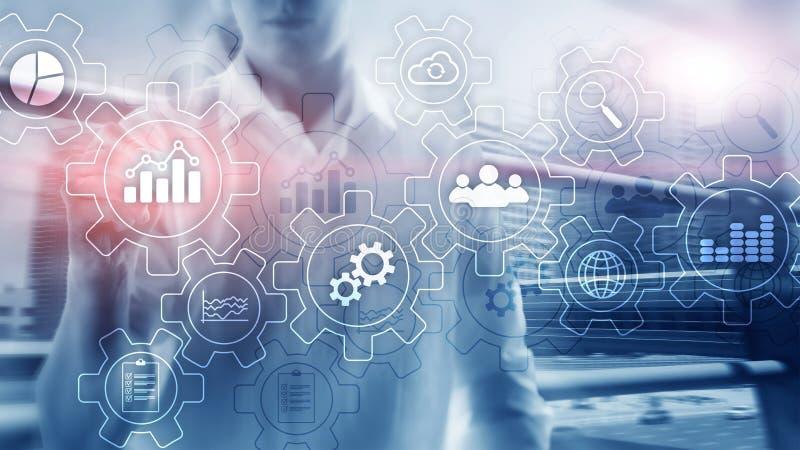 Диаграмма бизнес-процесса абстрактная с шестернями и значками Концепция технологии потока операций и автоматизации бесплатная иллюстрация